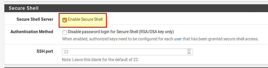 pfSense SSH