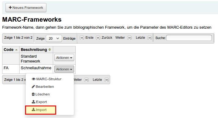 Koha Framework Import