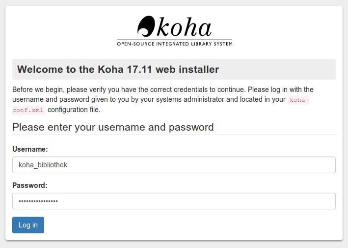 koha webinstaller step 1